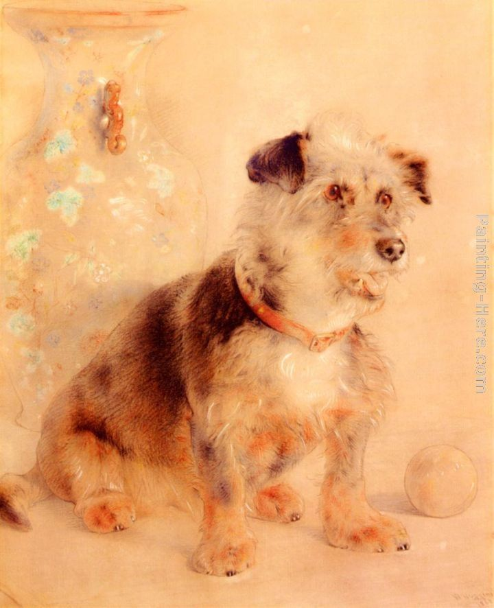 William Huggins Terrier Seated Before A Canton Famille Rose Vase