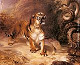 William Huggins A Tiger and a Serpent painting