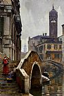 William Logsdail The Ponte dei Pugni, Venice, with the Campanile of Sta. Fosca beyond painting