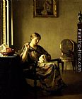 William McGregor Paxton Woman Sewing painting
