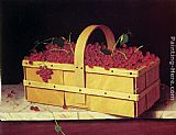 William Michael Harnett A Wooden Basket of Catawba-Grapes painting
