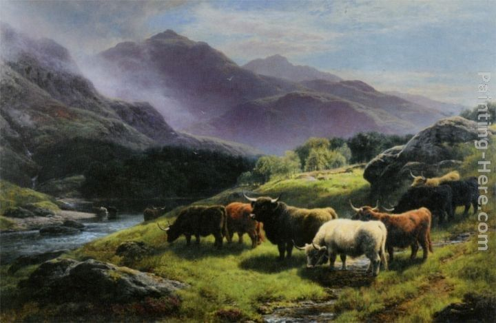 William Watson Highland Cattle Grazing by a Mountain Stream