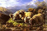 William Watson Morning sheep grazing in a Highland Landscape painting