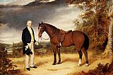 William Webb A Gentleman Holding a Chestnut Hunter in a Wooded Landscape painting