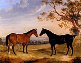 William Webb Two Mares In A Landscape painting