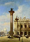 William Wilde Figures in St Marks Square Venice painting