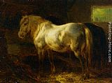 Wouter Verschuur Feeding the Horses in a Stable painting