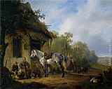Wouter Verschuur Figures near a farmstead painting