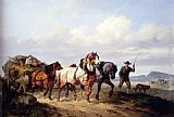 Wouter Verschuur Horses Pulling A Hay Wagon In A Landscape painting