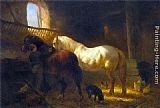 Wouter Verschuur Horses in a Stable painting
