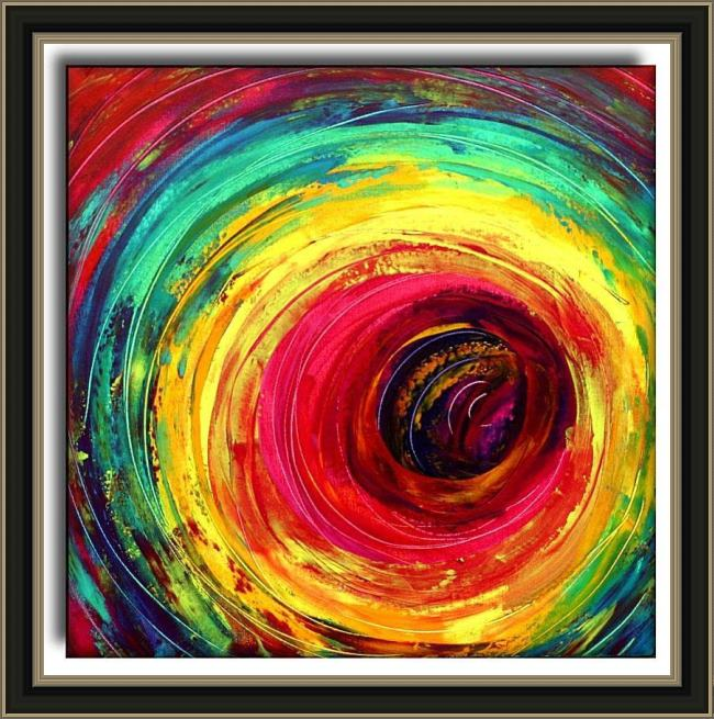 Framed 2010 colorful dance circle painting