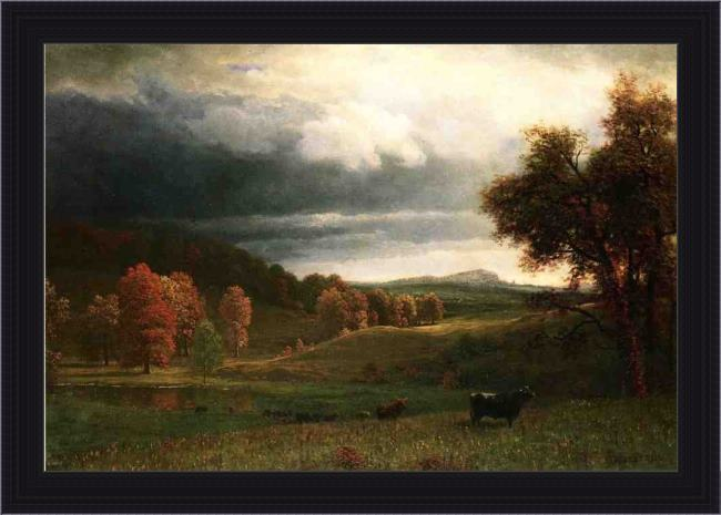 Framed Albert Bierstadt autumn landscape the catskills painting