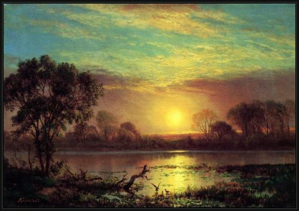 Framed Albert Bierstadt evening, owens lake, california painting