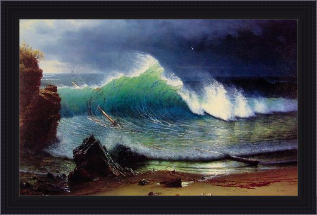 Framed Albert Bierstadt the shore of the turquoise sea painting