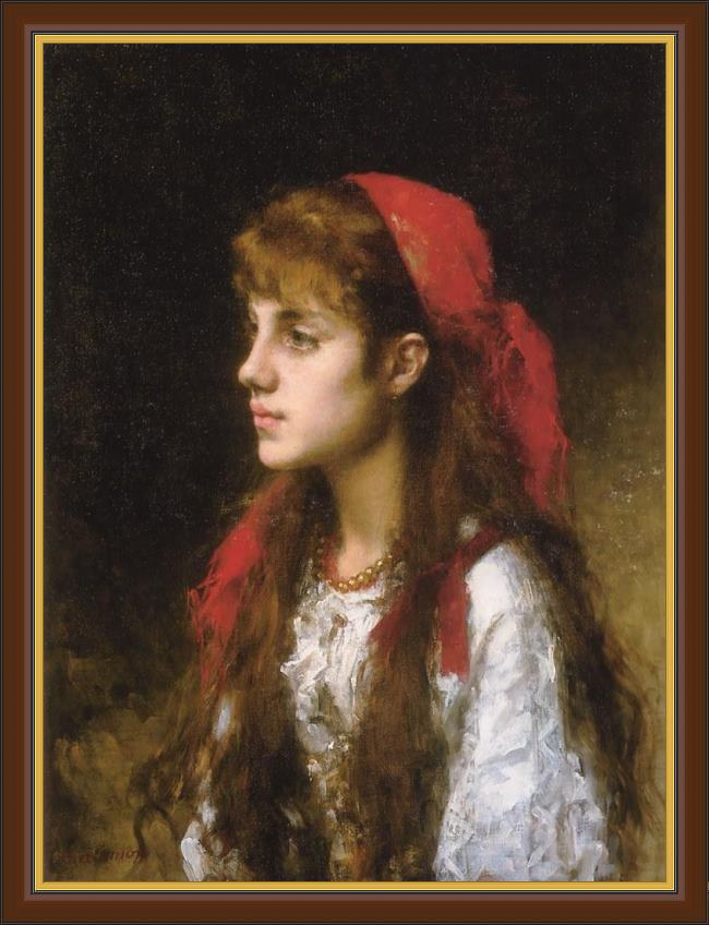 Framed Alexei Alexeivich Harlamoff a russian beauty painting