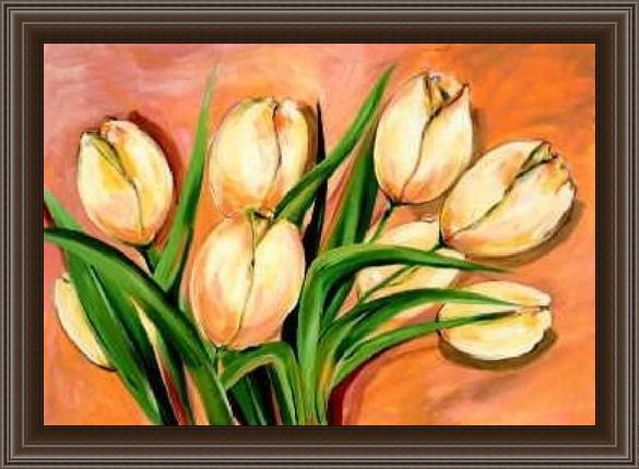 Framed Alfred Gockel natural beauty tulips i painting