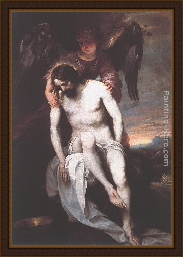 Framed Alonso Cano the dead christ supported by an angel painting