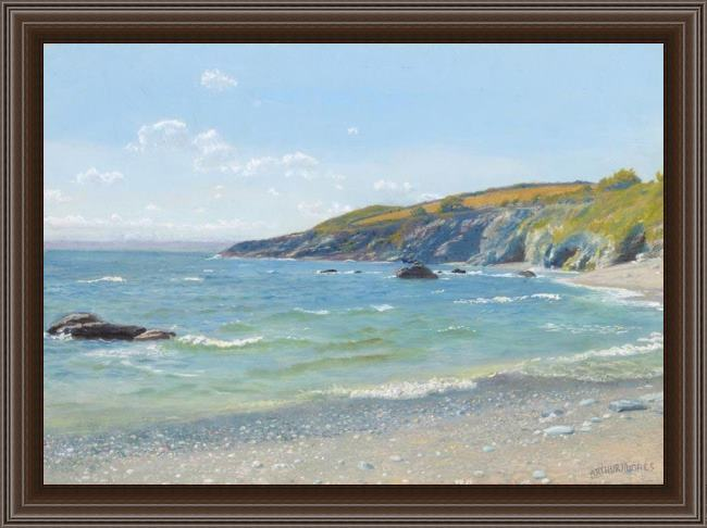 Framed Arthur Hughes perran point cornwall painting