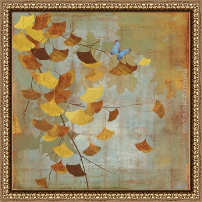 Framed Asia Jensen gingko branch i painting