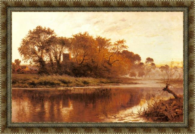 Framed Benjamin Williams Leader the last gleam, wargrave on thames painting