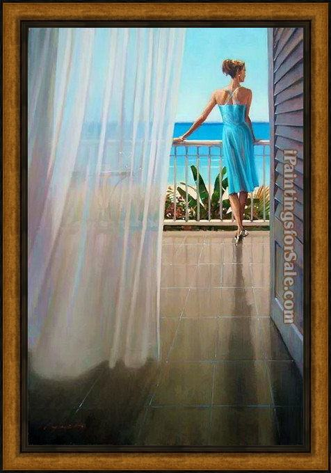 Framed Brent Lynch hawaii veranda painting
