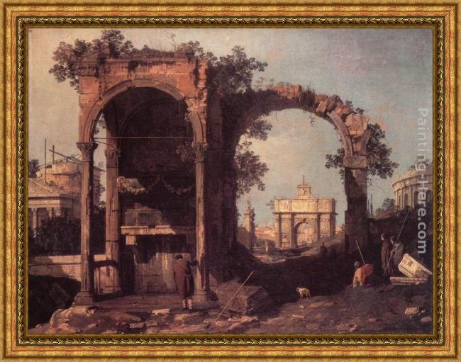Framed Canaletto capriccio ruins and classic buildings painting