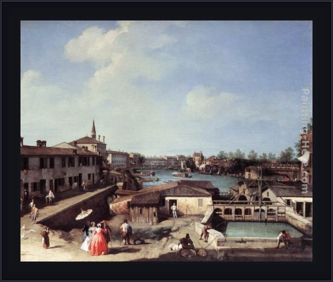 Framed Canaletto dolo on the brenta painting