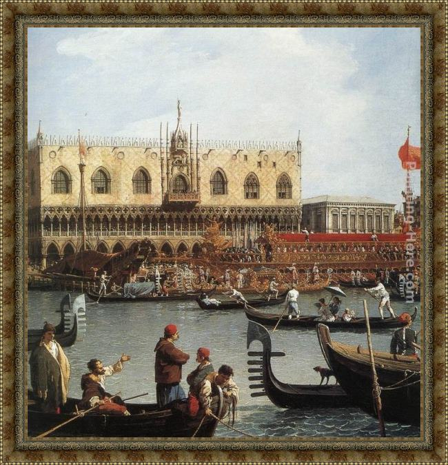 Framed Canaletto return of the bucentoro to the molo on ascension day (detail) painting