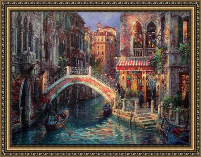 Framed Cao Yong venice over the bridge painting