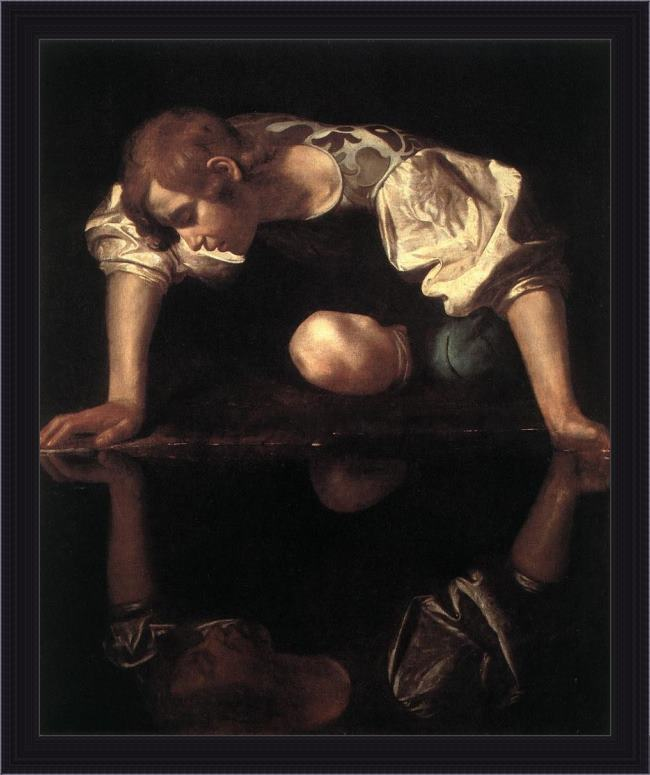 Framed Caravaggio narcissus painting