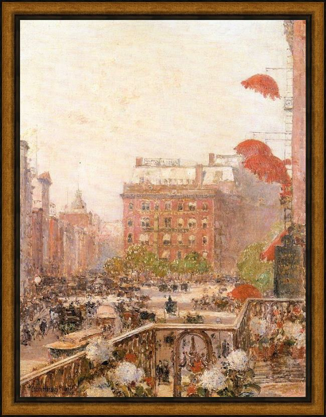 Framed childe hassam view of broadway and fifth avenue painting