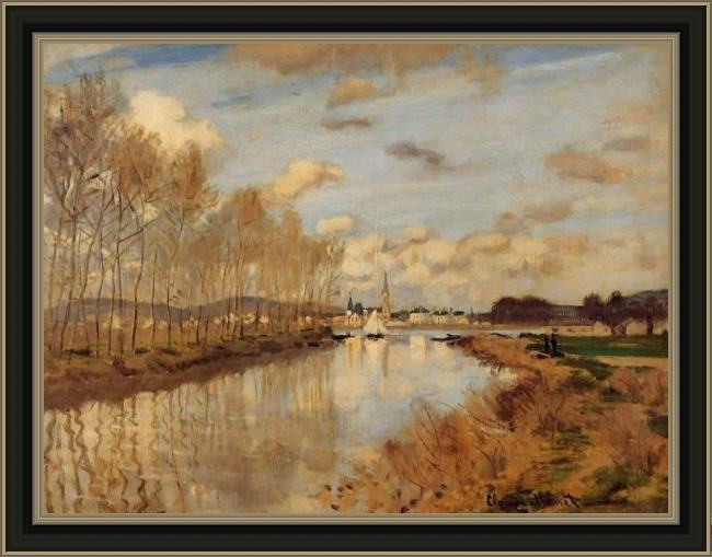 Framed Claude Monet argenteuil seen from the small arm of the seine 2 painting