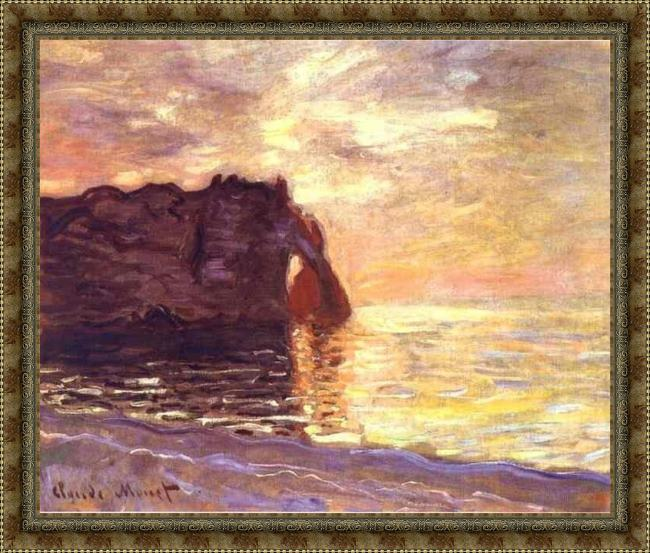 Framed Claude Monet etretat the end of the day painting