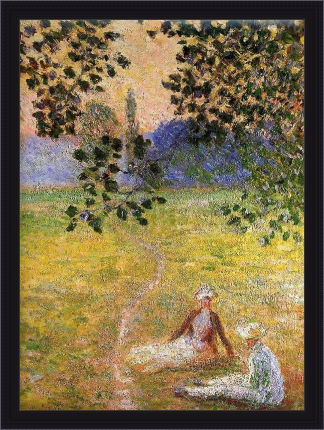 Framed Claude Monet evening in the meadow at giverny painting