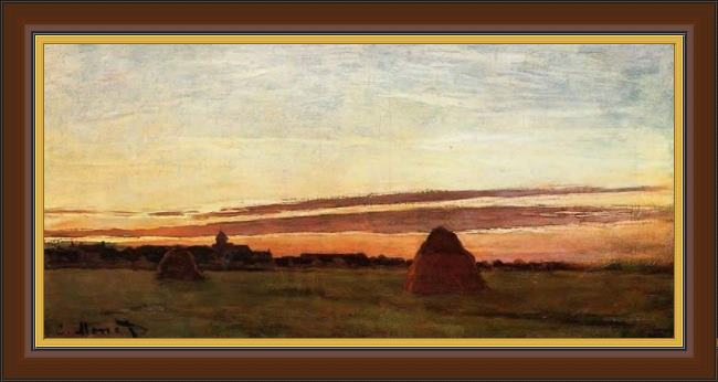 Framed Claude Monet grainstacks at chailly at sunrise painting