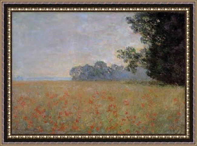 Framed Claude Monet oat and poppy field 2 painting