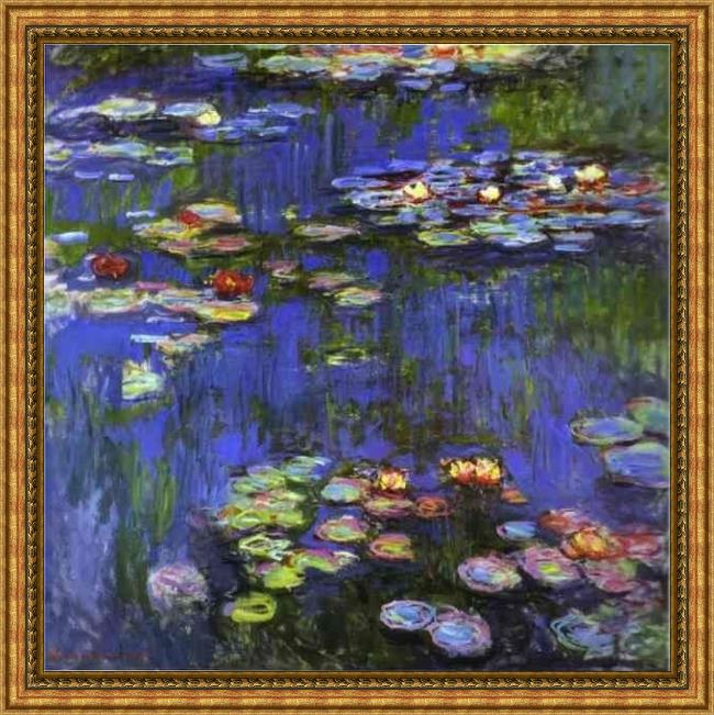 Framed Claude Monet water-lilies 1914 painting