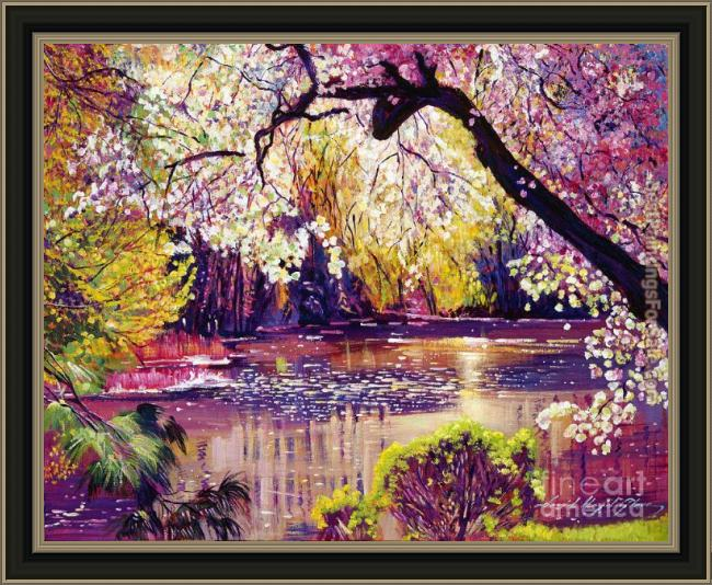 Framed David Lloyd Glover central park spring pond painting