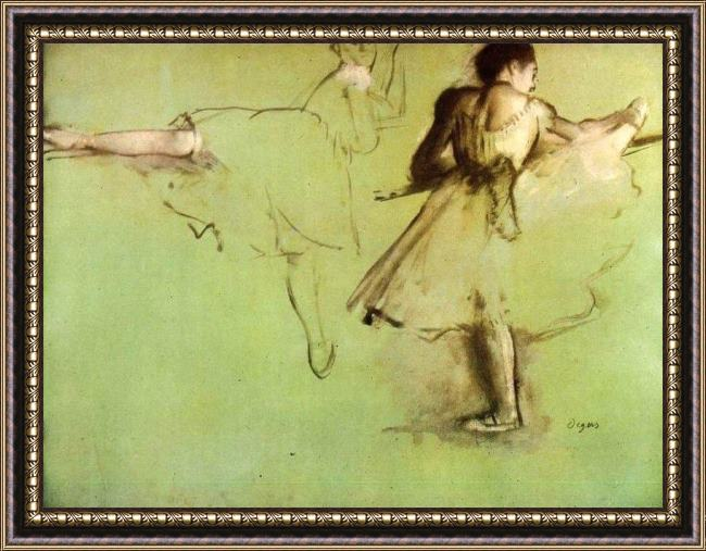 Framed Edgar Degas dancers at the barre painting