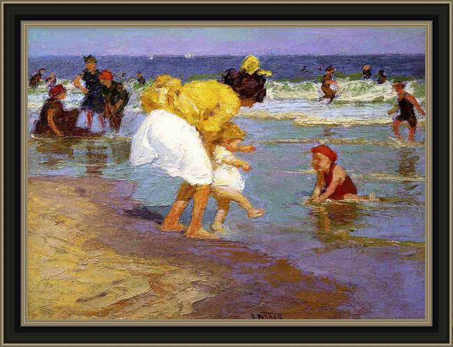 Framed Edward Henry Potthast at the seashore painting