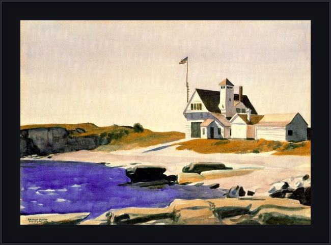 Framed Edward Hopper coast guard station, two lights, maine painting