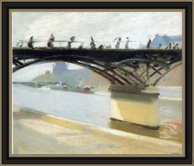 Framed Edward Hopper les pont des arts painting