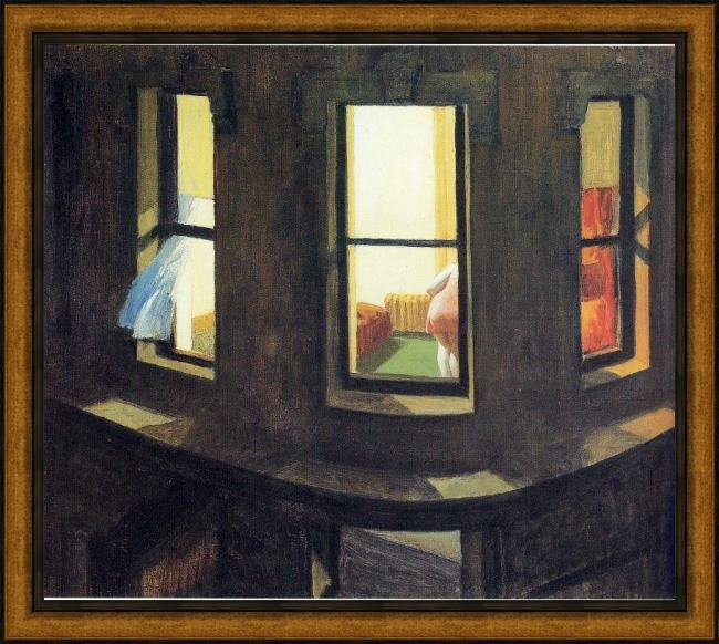 Framed Edward Hopper night windows painting