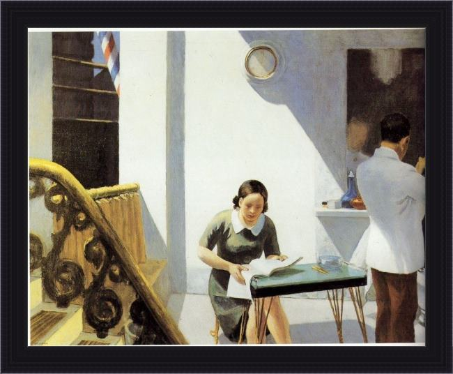 Framed Edward Hopper the barber shop painting