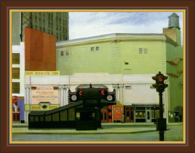 Framed Edward Hopper the circle theatre painting