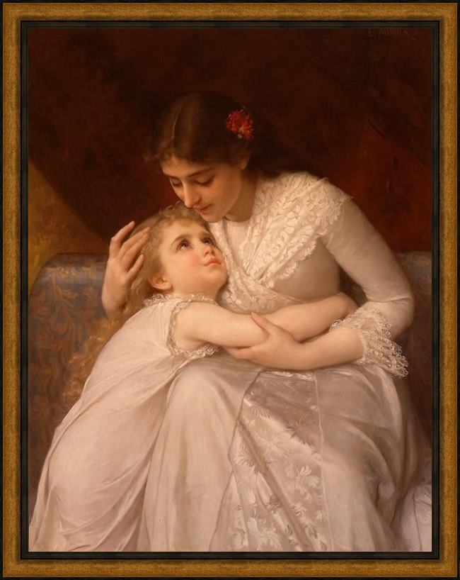 Framed Emile Munier pardon mama painting