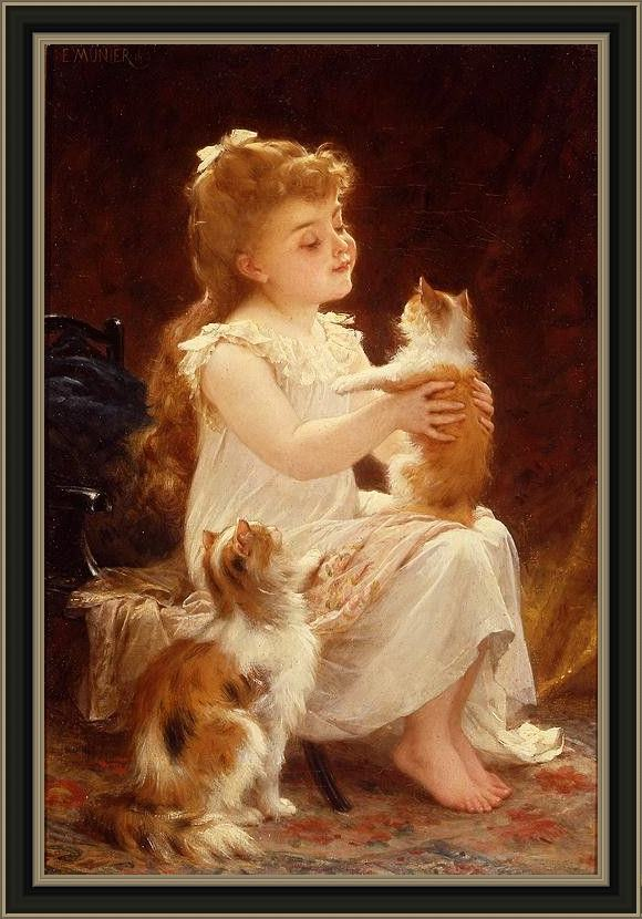 Framed Emile Munier playing with the kitten painting
