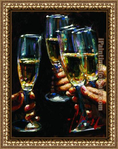 Framed Fabian Perez brindis con champagne painting