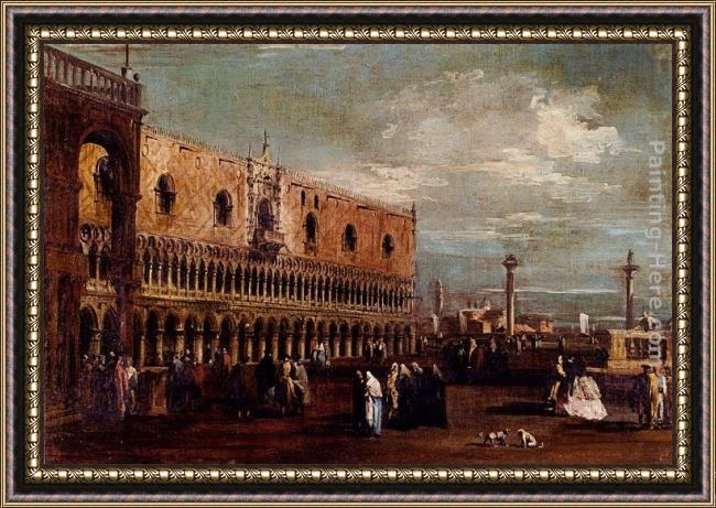 Framed Francesco Guardi venice, a view of the piazzetta looking south with the palazzo ducale painting