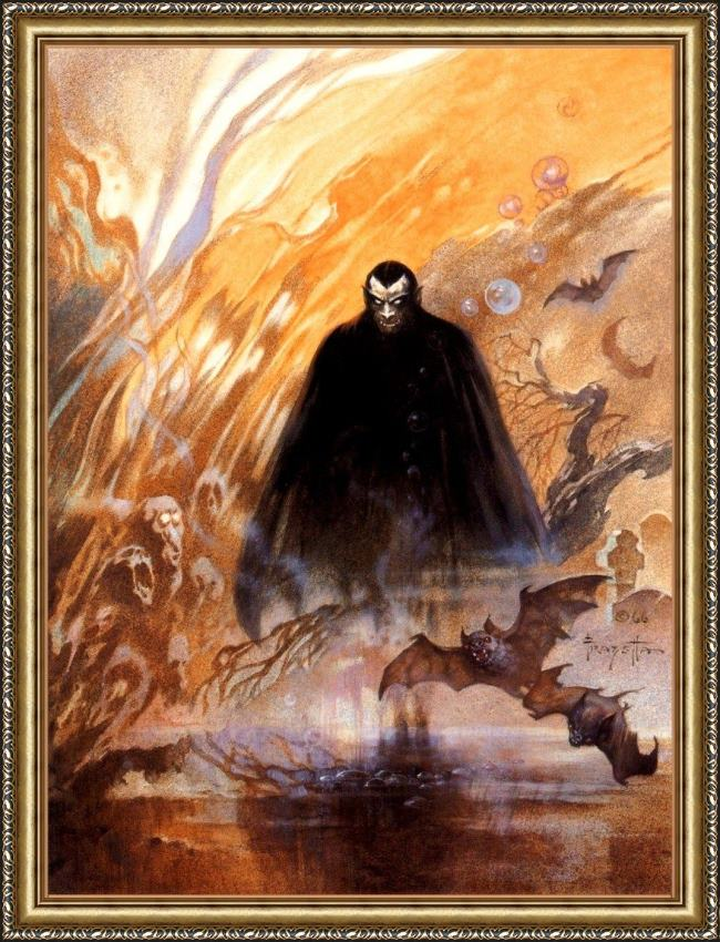 Framed Frank Frazetta count dracula painting